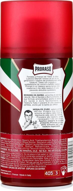 Пяна за бръснене за твърда брада с масло от Шеа и сандалово дърво - Proraso Red Shaving Foam — снимка N2