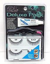 Парфюми, Парфюмерия, козметика Комплект изкуствени мигли и лепило - Ardell Deluxe Pack 109 Black