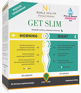 Комплекс за отслабване, 90 бр - Noble Health Get Slim Morning & Night