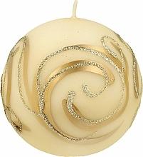 Парфюмерия и Козметика Декоративна свещ , топка , кремава , 10 см - Artman Christmas Ornament
