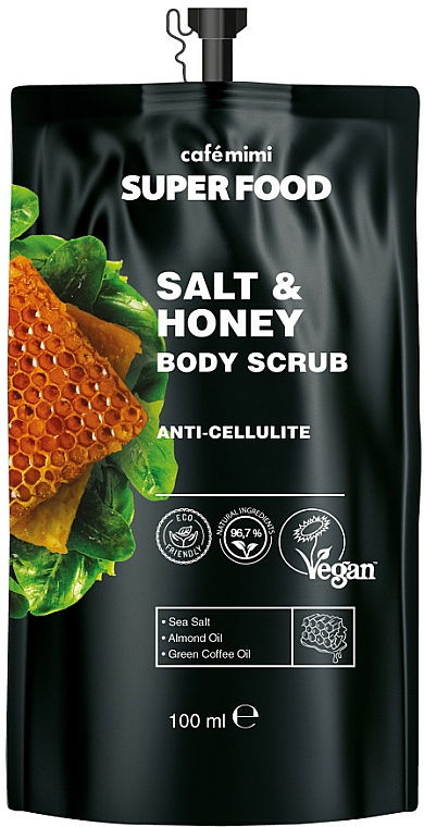 Антицелулитен солен скраб за тяло мед - Cafe Mimi Super Food