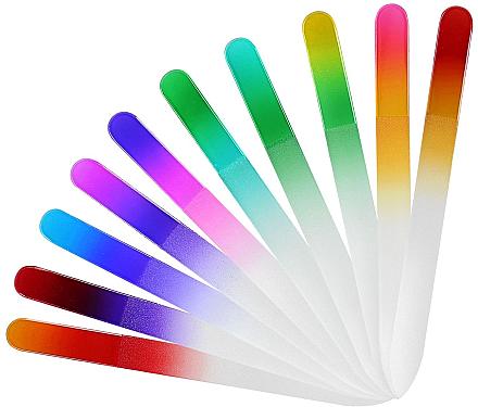 Стъклена пиличка за нокти, червено-лилава - Tools For Beauty Glass Nail File With Rainbowr Print — снимка N1