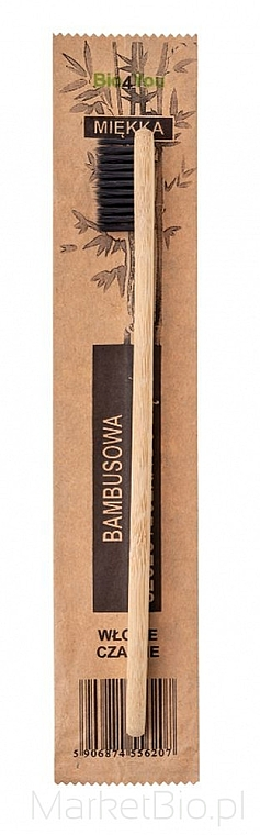 Бамбукова четка за зъби, мека, черна - Bio4You