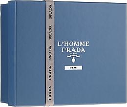 Парфюмерия и Козметика Prada L'Homme Prada L'Eau - Комплект (тоал. вода/100ml + тоал. вода/10ml + душ гел/100ml)