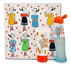 Парфюми, Парфюмерия, козметика Moschino I Love Love - Комплект (тоал. вода/30ml + лосион за тяло/50ml)