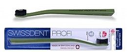 Парфюмерия и Козметика Четка за зъби, средно мека, зелена - SWISSDENT Profi Colours Soft-Medium Toothbrush Green&Black