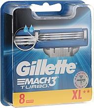 Парфюмерия и Козметика Сменяеми ножчета за бръснене, 8 бр. - Gillette Mach3 Turbo