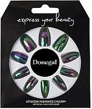 """Парфюмерия и Козметика Комплект изкуствени нокти """"Express your beauty"""" в черен цвят с неонов оттенък - Donegal Express Your Beauty"""