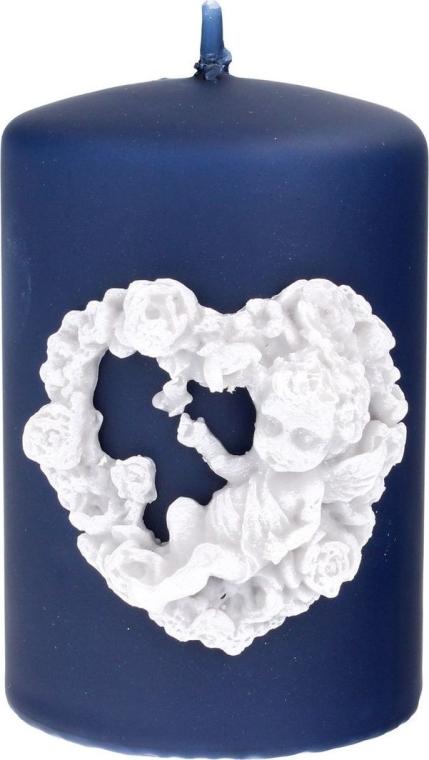 Декоративна свещ, тъмносиня, 7х10см - Artman Amore — снимка N1