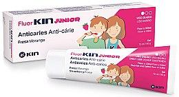 Парфюми, Парфюмерия, козметика Детски гел за зъби - Kin Fluorkin Junior Strawberry Anticaries Gel