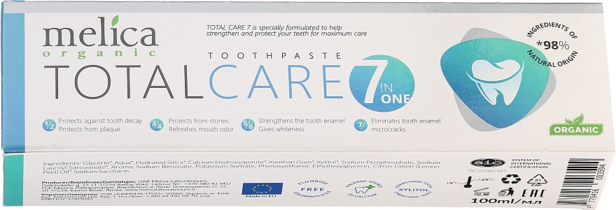"Паста за зъби ""Комплексна грижа"" - Melica Organic Toothpaste Total Care 7"