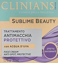 Парфюмерия и Козметика Защитен крем за лице за изравняване на тена с гроздова вода - Clinians Sublime Beauty Antimacchia Protettivo Face Cream