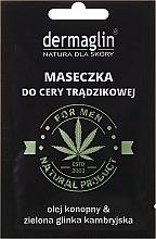Парфюмерия и Козметика Маска за лице с масло от коноп и зелена глина - Dermaglin For Men Natural Product