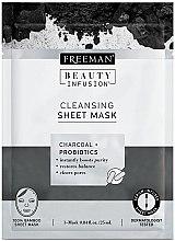 Парфюми, Парфюмерия, козметика Почистваща маска за лице от плат с активен въглен и пробиотици - Freeman Beauty Infusion Cleansing Clay Mask Charcoal & Probiotics