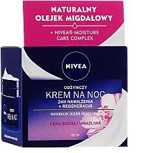 Парфюми, Парфюмерия, козметика Подхранващ нощен крем за суха и чувствителна кожа - Nivea 24H Moisturizing Regeneration & Nourishing Night Cream