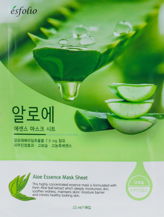 Памучна маска за лице с екстракт от алое вера - Esfolio Aloe Essence Mask Sheet