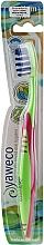 Парфюмерия и Козметика Твърда четка за зъби, зелено-розова - Yaweco Toothbrush Nylon Medium