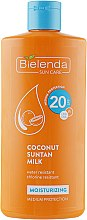 Парфюмерия и Козметика Слънцезащитно кокосово мляко SPF20 - Bielenda Bikini Moisturizing Suntan Milk Medium Protection