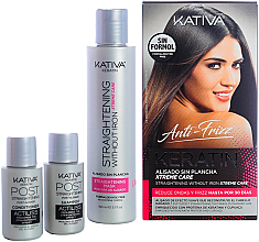Парфюмерия и Козметика Комплект за коса - Kativa Anti-Frizz Straightening Without Iron Xtreme Care (mask/150ml + shm/30ml + cond/30ml)