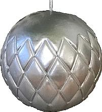 Парфюмерия и Козметика Декоративна свещ, лакирана топка, сребриста 12см - Artman Florence