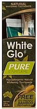 Парфюмерия и Козметика Комплект за зъби - White Glo Pure & Natural (паста/85ml + бамбукова четка/1)