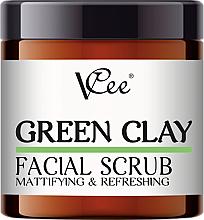 Парфюмерия и Козметика Матиращ скраб за лице със зелена глина - VCee Green Clay Facial Scrub Mattifying&Refreshing