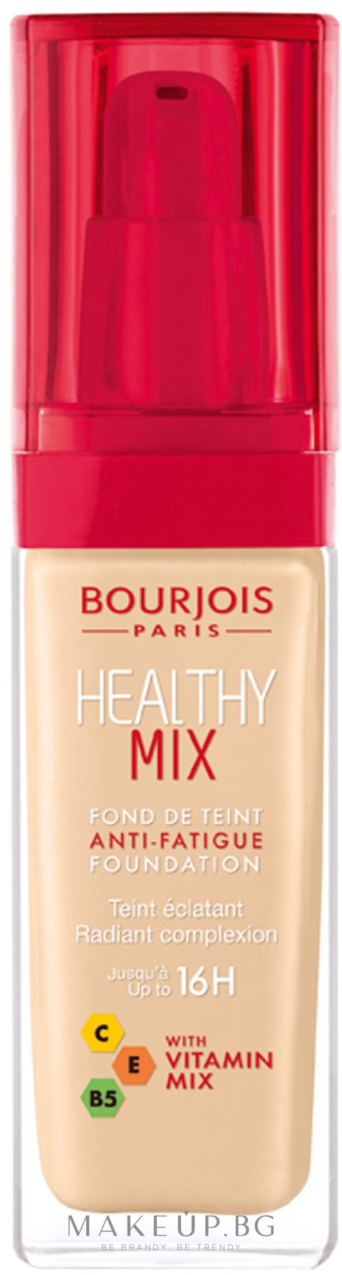 Озаряващ течен фон дьо тен - Bourjois Radiance Reveal Healthy Mix Foundation — снимка 50 - Rose Ivory