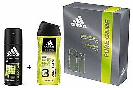 Парфюмерия и Козметика Adidas Pure Game - Комплект за мъже (спрей дезодор. /150ml + шамп. душ гел/250ml)