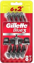 Парфюмерия и Козметика Комплект еднократни самобръсначки, 6+2 бр. - Gillette Blue3 Nitro