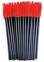 Парфюмерия и Козметика Четки за мигли с найлонови косъмчета, черно-червени - Novalia Group
