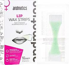 Парфюми, Парфюмерия, козметика Восъчни депилиращи ленти за мустак - Andmetics Lip Wax Strips Women (strips/8x2pc + wipes/4pc)