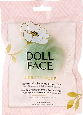 Почистваща гъба за лице - Doll Face Pretty Puff Natural Konjac With Green Tea Skin Cleansing & Exfoliating Sponge — снимка N1