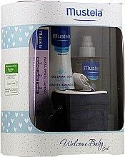 Парфюмерия и Козметика Комплект за деца - Mustela Welcome Baby Set Blue (гел/200ml + крем/50ml + масло/100ml + несесер)
