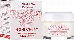 Парфюми, Парфюмерия, козметика Възстановяващ нощен крем за лице с колаген, масло от жожоба и розова вода - Collagena Rose Natural Night Cream