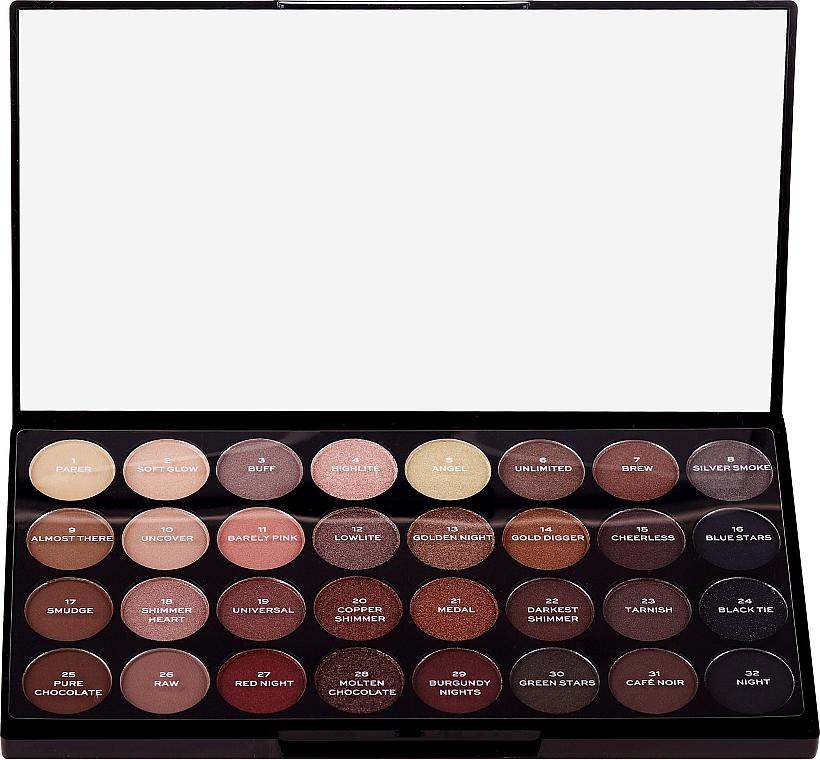 Палитра сенки за очи, 32 цвята - Makeup Revolution Ultra 32 Shade Palette Flawless