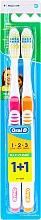 Парфюмерия и Козметика Комплект четки за зъби (оранжева + розова) - Oral-B 1 2 3 Maxi Clean 40 Medium 1+1
