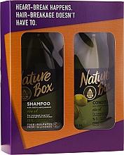 Парфюмерия и Козметика Комплект за коса - Nature Box Olive Oil Set (шампоан/385ml + балсам/385ml)