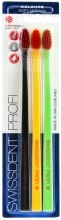 Парфюмерия и Козметика Комплект четки за зъби, средно меки, черна + жълта + зелена - SWISSDENT Profi Colours Soft-Medium Trio-Pack