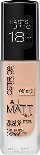 Дълготраен матиращ фон дьо тен - Catrice All Matt Plus Shine Control Make Up — снимка 015 - Vanilla Beige