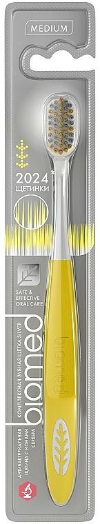 Средно твърда сребърна йонна четка за зъби, жълта - Biomed Silver Medium — снимка N1