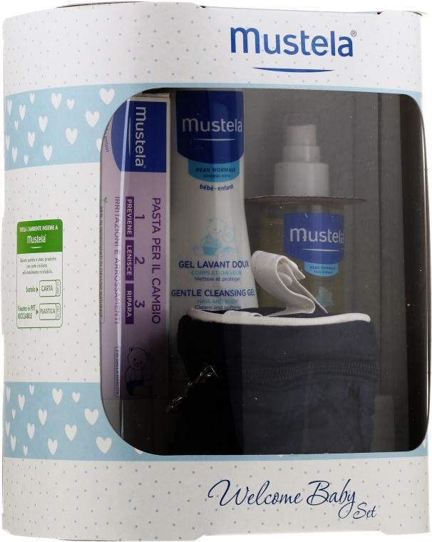Комплект за деца - Mustela Welcome Baby Set Blue (гел/200ml + крем/50ml + масло/100ml + несесер)