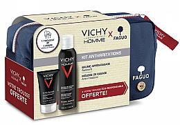 Парфюмерия и Козметика Комплект за бръснене - Vichy Homme Sensitive After-Shave (пяна/200ml + афтър. балсам/75ml + козм. чанта)