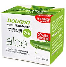 Парфюми, Парфюмерия, козметика Хидратиращ крем за лице с алое вера - Babaria Aloe Vera 24-Hour Moisturising Face Cream