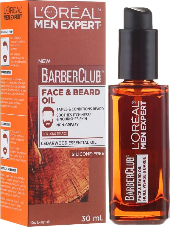 Масло за лице и дълга брада - L'Oreal Paris Men Expert Barber Club Long Beard + Skin Oil
