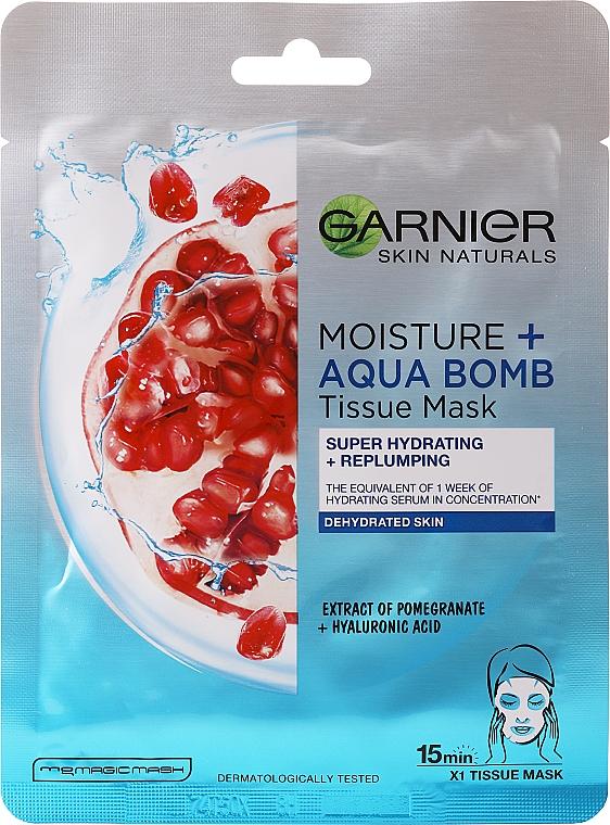 Овлажняваща маска за лице - Garnier Skin Active Moisture + Aqua Bomb Tissue Mask