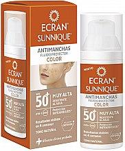 Парфюмерия и Козметика Слънцезащитен флуид за лице - Ecran Sunnique Antimanchas Color Spf50+