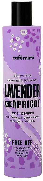 """Спа гел-пяна за вана и душ """"Лавандула и кайсия"""" - Cafe Mimi Spa-Relax Shower Gel & Bubble Bath Lavander And Apricot — снимка N1"""