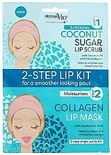 Парфюмерия и Козметика Скраб и маска за устни с кокос и колаген - Derma V10 2 Step Lip Treatment Kit Coconut