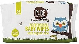 Парфюмерия и Козметика Детски мокри кърпички, 64 бр. - Pure Beginnings Biodegradable Aloe Baby Wipes