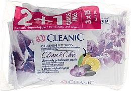 Парфюмерия и Козметика Комплект мокри кърпички - Cleanic Clean & Chic Wipes 2+1 (3x15 wipes)